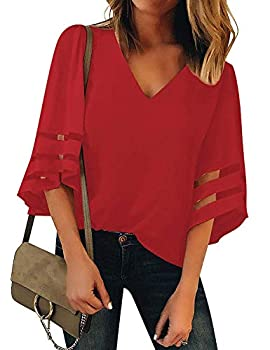 LookbookStore Women s Red V Neck Casual Mesh Panel Blouse 3/4 Bell Sleeve Solid Color Loose Top Summer Lightweight Work Shirt Size XL US 16-18
