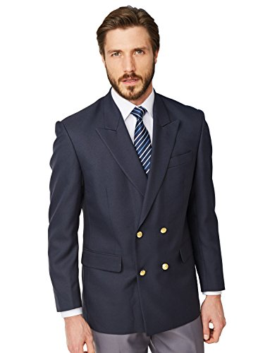 Mens Double Breasted Oxford Blazer Navy 42