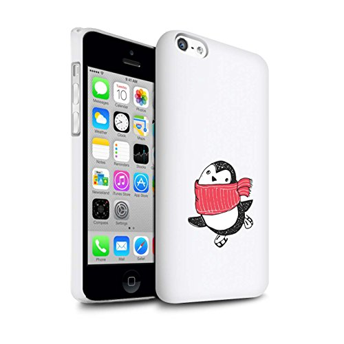 Stuff4® glanzende snap-on hoes/case voor Apple iPhone 5C / rode sjaal patroon/schattige Doodle Pinguin collectie