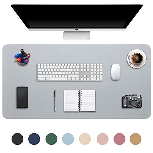 DOBAOJIA Erweitertes Mausepad Große Mausmat XXL Schreibtischmatte Schreibtischunterlage für Laptop/Tastatur/Maus Schreibblock, PU Leder Wasserdicht + Wildleder rutschfest 90 x 43cm (Grau)