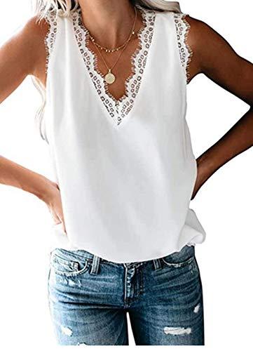 FIYOTE Camiseta de tirantes para mujer, sin mangas, tallas S-XXL, color S-XXL 1 blanco. M