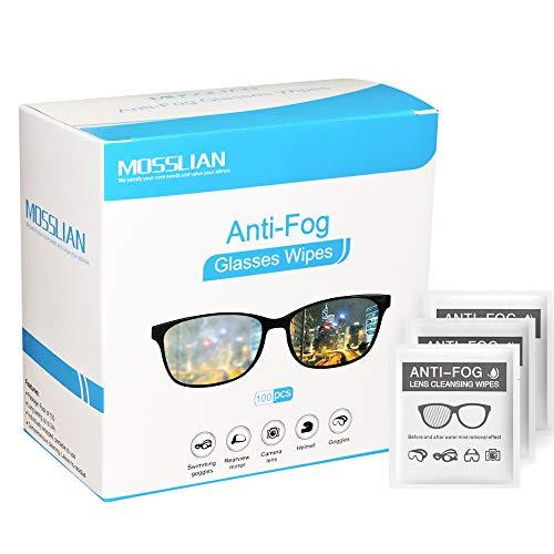Toallitas antiempañamiento Mosslian para gafas antivaho, toallitas antiempañamiento para evitar que las gafas se empañen (100 unidades)