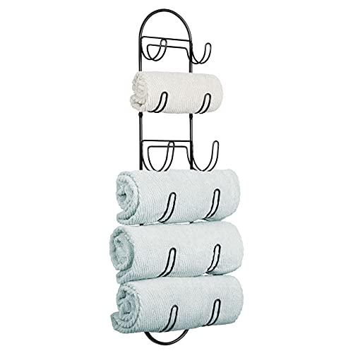 mDesign Vägghängd handdukshållare – Handduksställ i metall för badrummet – Rymmer 6 handdukar i olika storlekar – Svart
