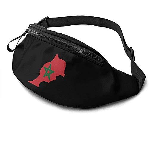 Jrey.T Bandera De Marruecos Mapa Runner's Riñonera Paquete De Cintura Correas Ajustables Bolsillo con Conector para Auriculares para Unisex