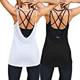 Tobrief Women's Strap Top Workout Shirts Loose Flowy Muscle Tank Athletic Tank Top Black&White XL