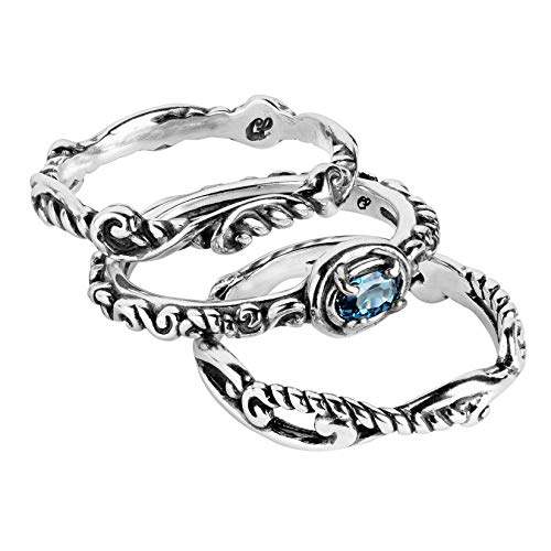 Carolyn Pollack Sterling Silver Blue Topaz Gemstone Stackable Set of 3 Rings Size 6