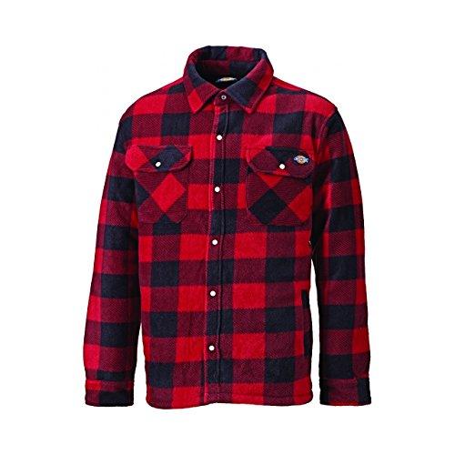 Dickies Herren Portland Karo-Hemd mit Druckknöpfen, Langärmlig (XL) (Rot)