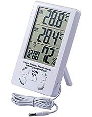 JZK Termómetro higrómetro LCD Digital Cable Sensor 1.5 m Interior higrómetro Exterior termómetro Humedad medidor Temperatura para hogar Oficina habitación Hotel Laboratorio, Blanco