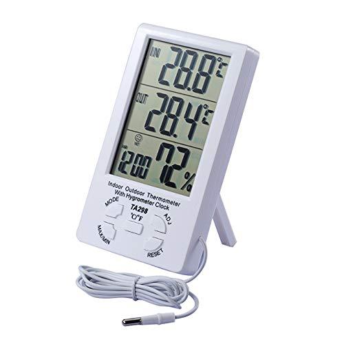JZK TA298 Termoigrometro Digitale con 1.5mt sonda LCD Display igrometro termometro per Esterno e Interno Ambiente, Misura umidità Temperatura per Serra casa Stanza Giardino