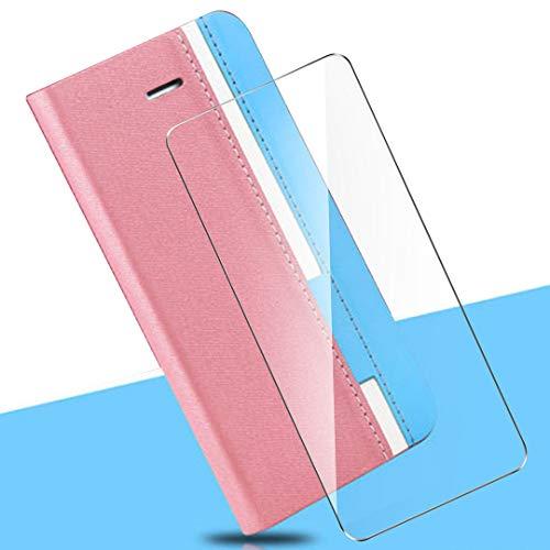HYMY Denim Hülle für Oppo Find X2 Neo + Schutzfolie Panzerglas Folie - Lederhülle Flip Schutzhülle Card Slot mit Brieftasche Handyhülle Bookstyle Flip Cover Hülle - Pink
