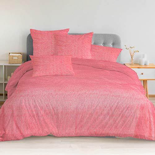 Mercery Queen Duvet Cover Set, 3 Pieces-White Comforter Set Queen Size- 1 Duvet Cover with 2 Pillow Shams, Ultra Soft Zipper Closure White Bedding Set, Queen 90x90 inch (Pink, Queen)