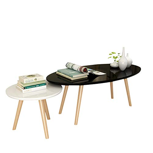 XIN Nordic houten geschilderde theetafel, kleine ovale salontafel, eenvoudige moderne woonkamer eenvoudige houten kleine ronde bijzettafel