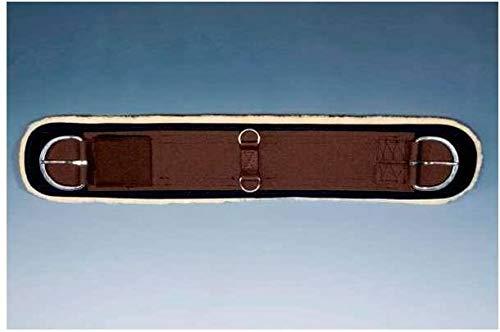 CHRIST Lammfell Western Sattelgurtschoner zum Aufkletten, Länge 32 Zoll (80 cm), schwarz/natur