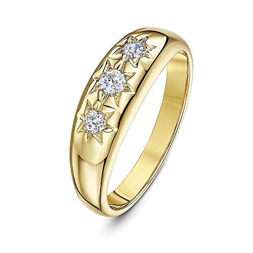 Theia Women's 9 ct Yellow Gold, Round CZ Stones Set in a Star Designed Setting Lightweight Ring, Size V