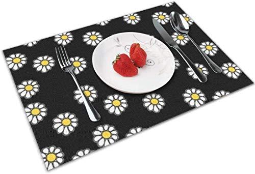 Juego de 4 manteles individuales para mesa de comedor, resistentes al agua, lavables, resistentes al calor y duraderos, diseño de flores y margaritas