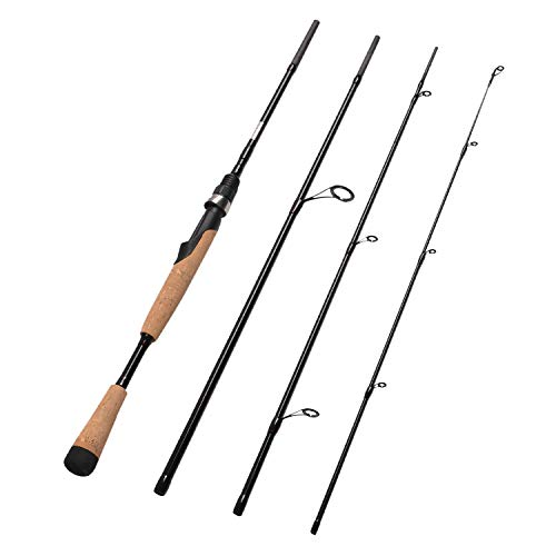 Fiblink 4 Pieces Travel Spinning Rod Medium Graphite Spinning Fishing Rod Portable Fishing Rod (7' Medium)