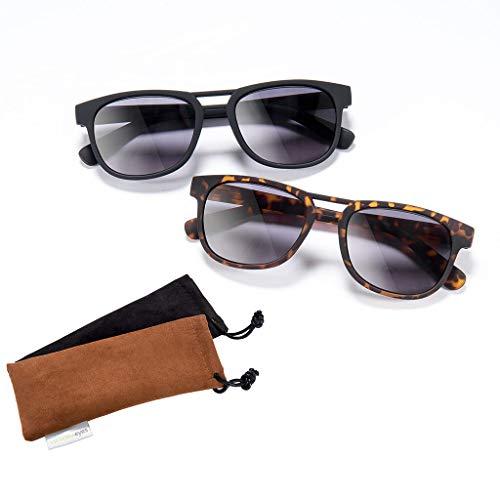 Lesebrille mit Sonnenschutz Tönung EAGLE in schwarz oder braun schwarz +2,50 dpt