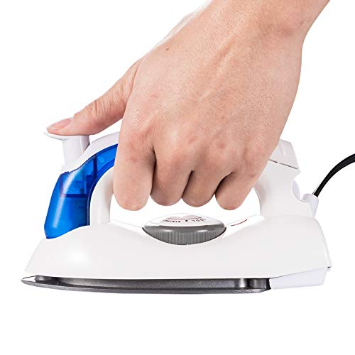 VICARKO Travel Mini Iron, Portable Steam Iron for Clothes, Handheld Steamer, Steam Iron, with Non-Stick Sole Plate, Steam Ironing and Dry Ironing, Fast Heated up, Detachable Water Tank, 700W (Blue)