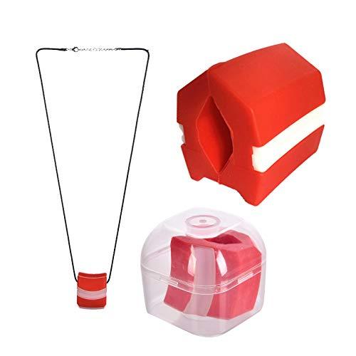 Ejercitador de mandíbula masticable, equipo de tonificación del cuello, herramienta de ejercicio de mandíbula para el tono de la mandíbula facial con cuerda colgante y caja de almacenamiento(rojo)