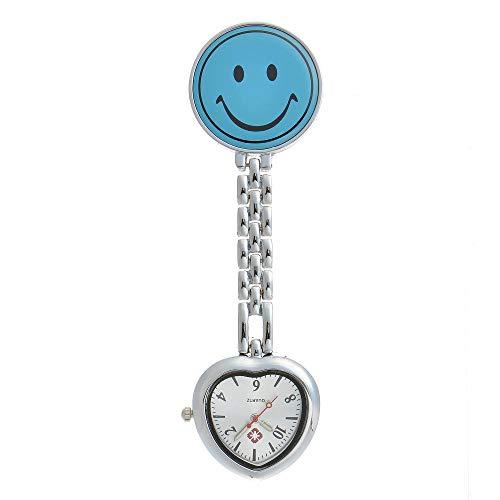 Cxypeng Reloj de Bolsillo Enfermera,Smiley Love Nurse Table Medical Reloj de Pared Impermeable Reloj de Bolsillo Cofre-Azul Claro,Reloj médico para enfermería