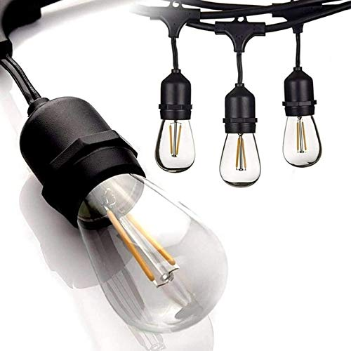 Outdoor String Lights, Festoon Lights, Garden Hanging Lights, Total Length 33-Feet / 10M (2.7m Plug Lead and 7.3m with 12 Hanging Sockets) Heavy Duty Black Cable / 15 PET Shatterproof Bulbs.