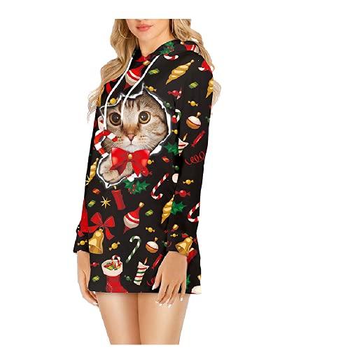 Boniyami Women's Hoodie Dress Novelty Christmas 3D Print Fashion Long Pullove...  来自 @amazon