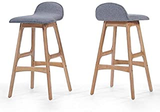 Christopher Knight Home Tolle Sky Grey Fabric Bar Chair (Set of 2), Light