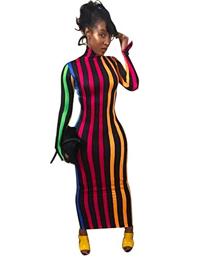 Rela Bota Women's High Neck Long Sleeve Striped Tunic Bodycon Long Maxi Pencil Dress Colorful yellow XL