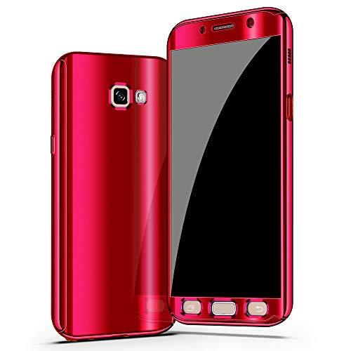 niter kompatible Samsung Galaxy A5 2017   A7 2017 Hülle slim mirror Handyhülle 3 in 1 Ultra Dünner PC Hardcase Cover 360 Grad Schutzhülle Handytasche panzerglas schutzfolie (A5 2017, Rot)