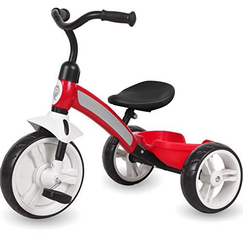 Q-Play Kinderdreirad ab 2 Jahre Kinder Dreirad Roller Rad Fahrrad Jungen Mädchen Rot