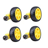 DaFuRui 4Pack DC Electric Motor 3-6V Dual Shaft Geared TT Magnetic Gearbox Engine + 4Pack Plastic Mini Smart RC Toy Car Robot Tyres Model Gear Parts