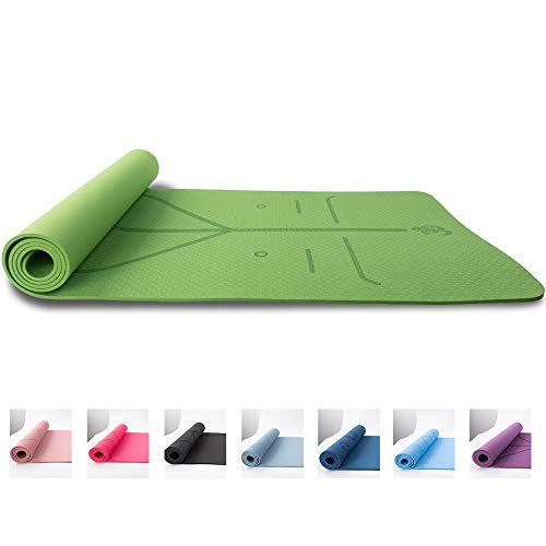 "PAGODA Yoga Mat 1/4"" Thick and Yoga Straps 72"" long, Non-Slip eco-friendly TPE yoga mat 72"" x 24"" for women"