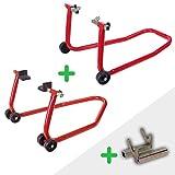 Caballetes de moto DELANTERO + TRASERO + ADAPTADOR DIABOLOS [ PACK elevadores/soporte universales para Motocicletas RZ TOOLS ]