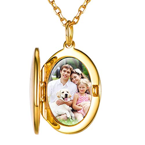 Custom4U Necklace Gifts for Mother,925 Sterling Silver Womens Picture Pendant with 18'' Chain, 18K Gold Plated Photo Gifts Locket Necklace for Women(with Gift Box)
