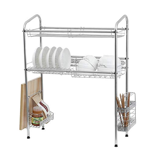 tgbnh 2 Layers Dish Drying Rack Over The Sink Kitchen Storage Shelf Counter-top Space Saver Stand Tableware Drainer Organizer (Size : 90CM)