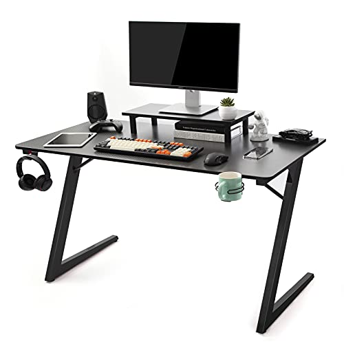 TOPSKY Gaming Desk Home Office Gaming Table with Cup Holder Headphone Hook Z Shaped Leg (120 * 60cm,...