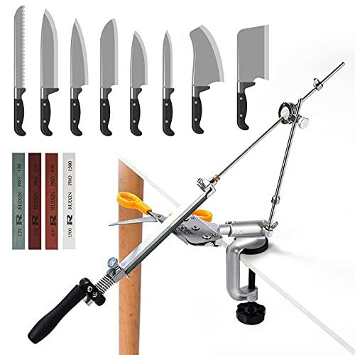 InLoveArts Affuteur couteau professionnel avec 4 meules, affûteur de couteaux à angle fixe Rotation Pro RX-008, ensemble doutils daffûtage de cuisine professionnels