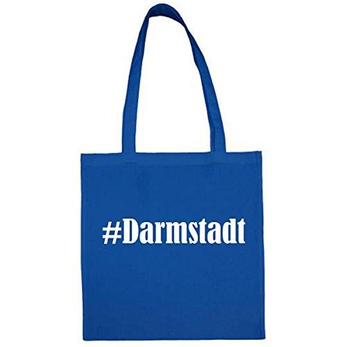 Tasche #Darmstadt Größe 38x42 Farbe Blau Druck Weiss
