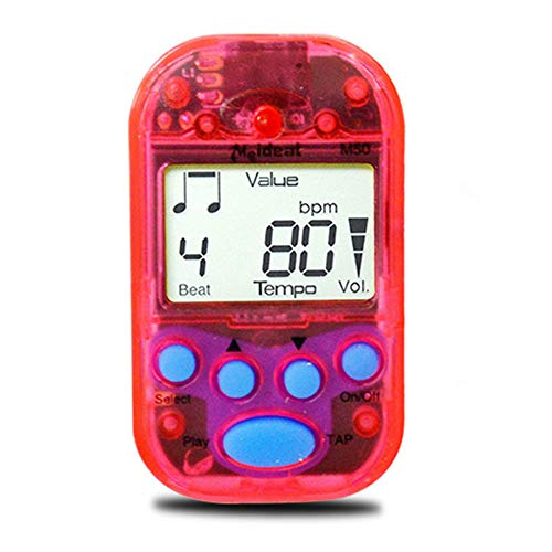 Rabusion Practical For Digital Metronome Clip-On Metronome Digital Beat Tempo Mini Metronome Portable Electronic Metronome for Piano, Violin, Guitar, Trap Drum Transparent red 11.8cm*7.8cm*2.5cm