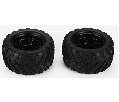 DHK HOBBY - Tires, Mounted on Black Wheels, for Zombie 8E (2pcs)