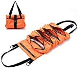 Super Tool Roll, Large Wrench Roll, Big Tool Roll Up Bag, Waxed Canvas Tool Organizer Bucket, Tool Roll Up Pouch, Handy Small Tools Tote Carrier,Tool Pouch Sling, Car Back Seat Organizer (Orange)