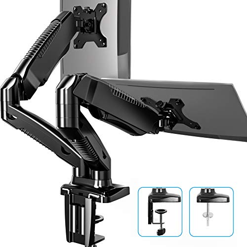 FITUEYES Dual Monitor Arm Mount for 13-27 Inch 360° Rotatable Desk Mount Stand for Computer PC Laptop Screen,2 Mounting Options,Support VESA 75-100mm,Weight 2-6.5 kg BMA1202MB