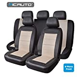 PIC AUTO Universal Fit Full Set Mesh and Leather Car Seat Cover(Beige)