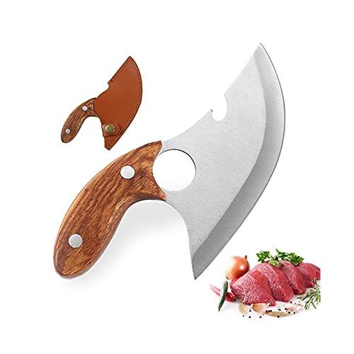 Cuchillo Cuchillo de hueso de acero inoxidable Cuchillo de cuchillo de chef de carnicero con cubierta de cuchillo deshuesado (Color : A With cover)