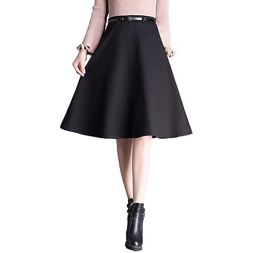85b7bcd21cfb Sobrisah Women' Plain Wool Knee Length Skirt A-Line Vintage Fall Winter  Wool Office