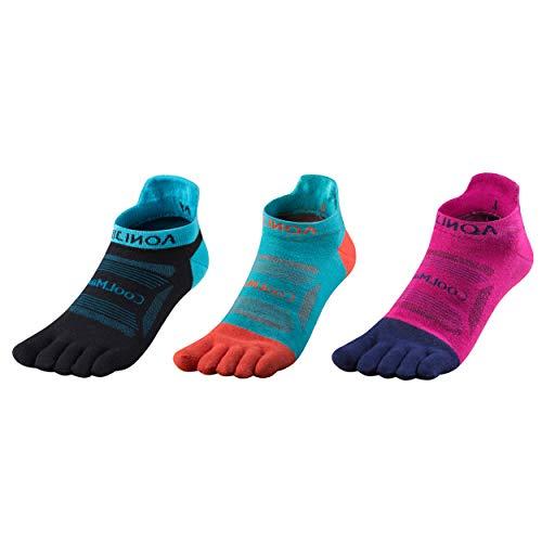 Azarxis 3 Par Calcetines de 5 Dedos Coolmax Secado Rápido Calcetines Deportivos Cómodos para Correr Senderismo al Aire Libre (M - (Azul Oscuro + Azul Claro + Negro)