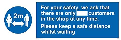 För din säkerhet ber vi att det bara finns_ kunder i butiken när som helst. Please keep a saf