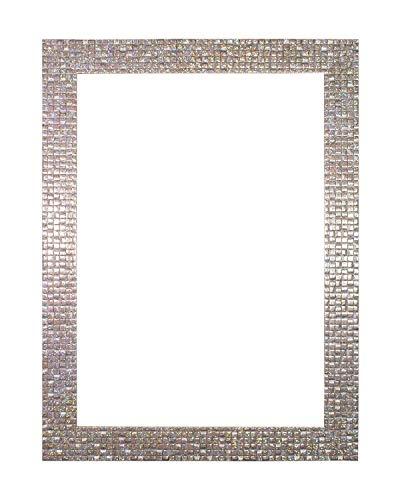 Perle argent Bling - Lumineux Plat /Effet Miroir /Mosaïque Cadre Photo / Posters Cadre – moulure de 28 mm de largeur et 16 mm de profondeur - dimension 30,5 x 30,5 cm - Avec du vrai verre