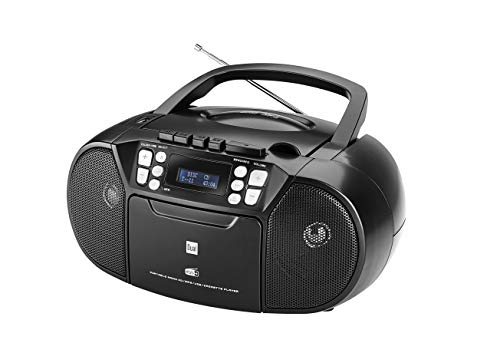 Dual DAB-P 210 Kassettenradio mit CD - DAB(+)/UKW-Radio - Boombox - CD-Player - Stereo Lautsprecher - USB-Anschluss - Aux-Eingang - Netz- / Batteriebetrieb - Tragbar Schwarz