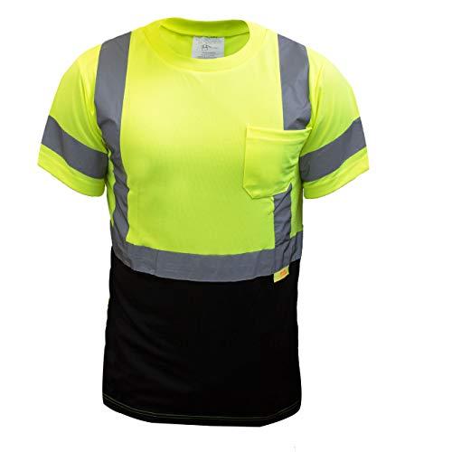 New York Hi-Viz Workwear NY BFS8512 High-Visibility Class 3 T Shirt with Moisture Wicking Mesh Birdseye, Black Bottom (Extra Large, Green)